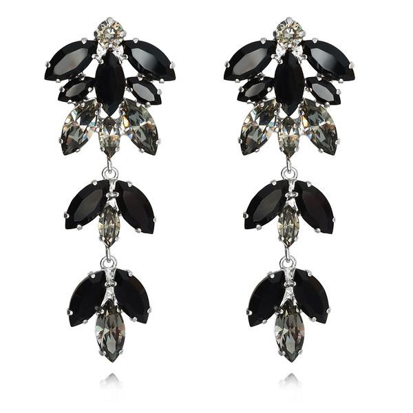 Nyx Earrings / Jet + Black Diamond / Rhodium