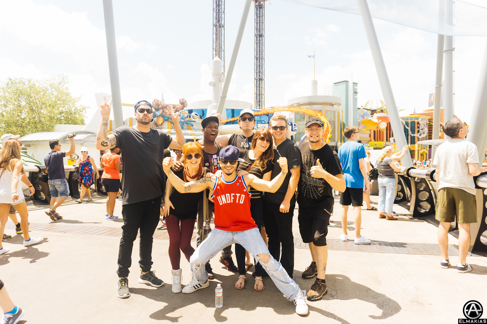 Lindsey and her band/crew at Universal Studios on the Shatter Me Tour by Adam Elmakias