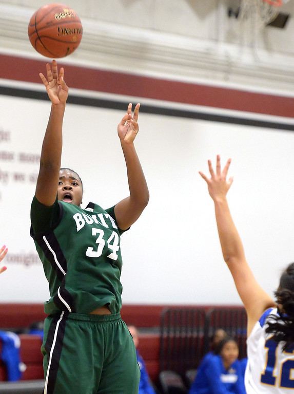. Bonita\'s Nalah Massey shoots a three pointer against Bishop Amat in the first half of the Covina basketball tournament at Covina High School in Covina, Calif., on Saturday, Dec. 14, 2013. Bonita won 49-41.   (Keith Birmingham Pasadena Star-News)
