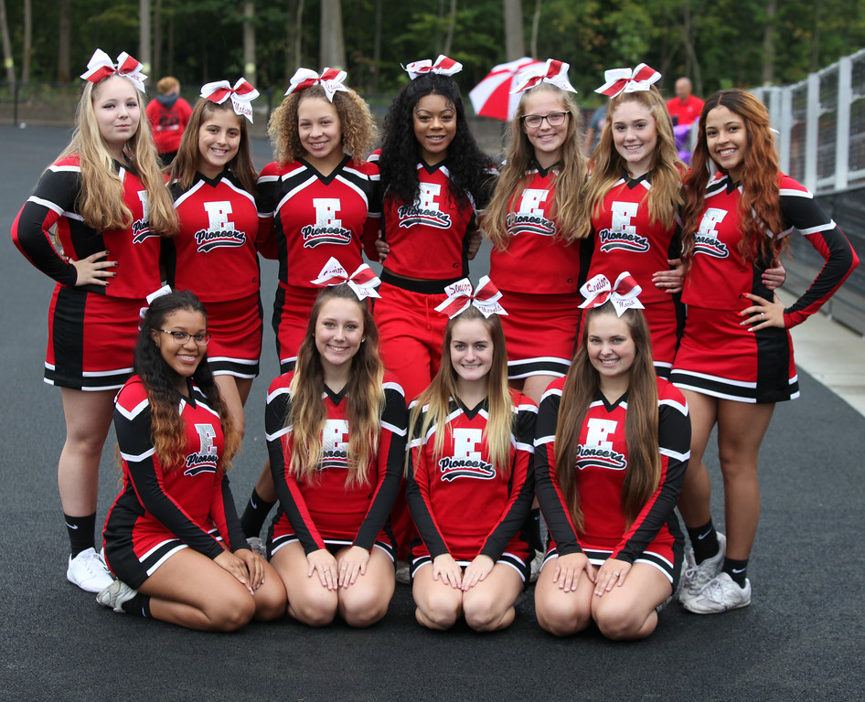 . Randy Meyers - The Morning Journal<br> The Elyria varsity cheerleaders are ready for Saturday\'s game against Lorain.