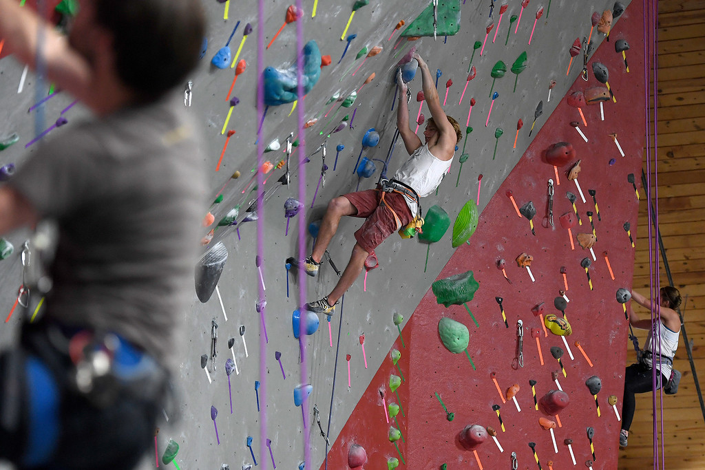 . FORT COLLINS, CO - MAY 05: Dan McClure climbs on Thursday, May 5, 2016. In April, the Colorado State climbing team won the USA Climbing national title � its second straight win. (Photo by AAron Ontiveroz/The Denver Post)