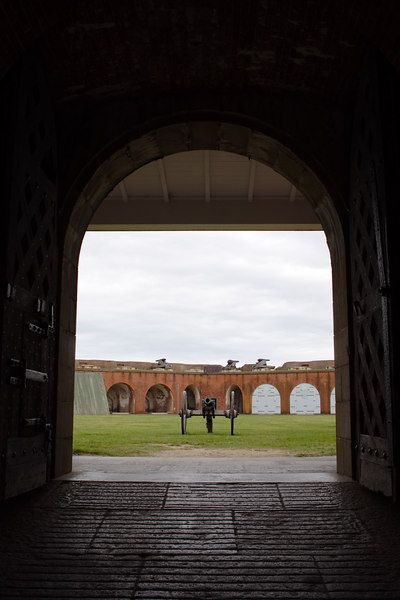 Fort Pulaski, between Savannah and the Atlantic Ocean two miles away and the largest brick fort on the East Coast, or something like that.  Many brutal Civil War battles were fought here.