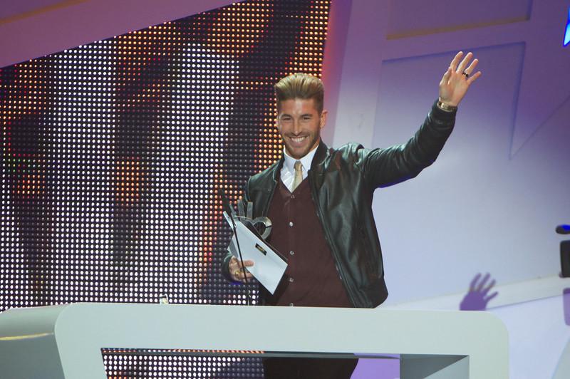 """. Sergio Ramos attends \""""40 Principales Awards\"""" 2012 at Palacio de los Deportes on January 24, 2013 in Madrid, Spain.  (Photo by Carlos Alvarez/Getty Images)"""
