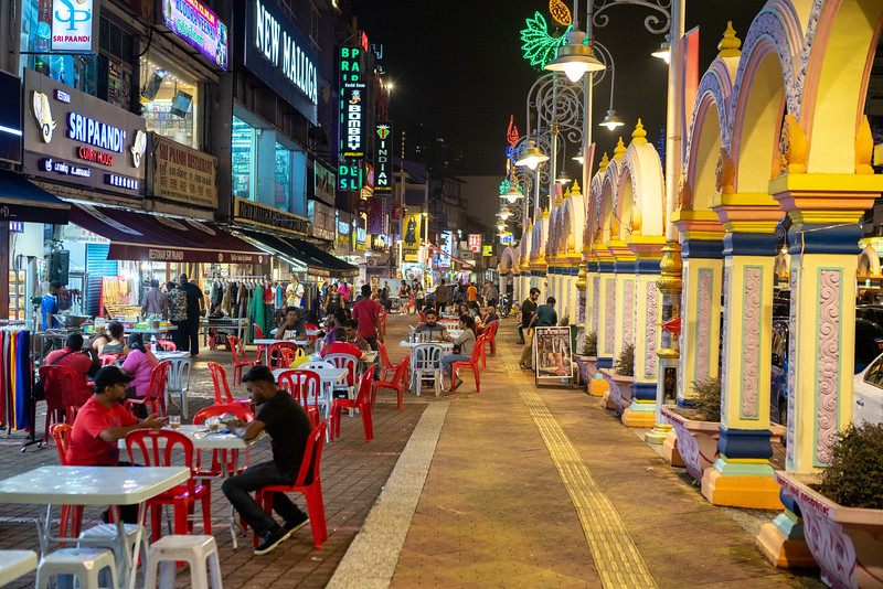 Locals gather at a curry and roti restaurant in Kuala Lumpur's Little India. The food scene in KL is currently exploding and spectacular Chinese, Malay, and Indian dishes can be found in small informal restaurants like this throughout the city.