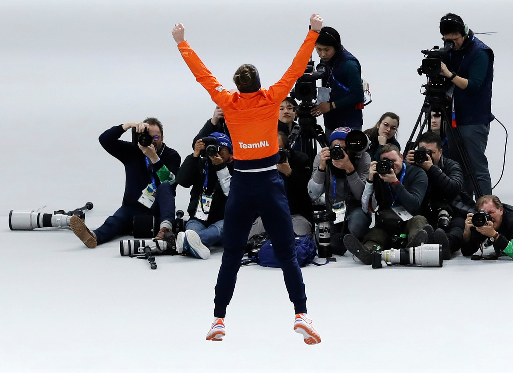 . Gold medallist Ireen Wust of Netherlands jumps for joy after the women\'s 1,500 meters speedskating race at the Gangneung Oval at the 2018 Winter Olympics in Gangneung, South Korea, Monday, Feb. 12, 2018. (AP Photo/Petr David Josek)