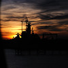 A glimpse of the Battleship USS Alabama in the fading sunset.