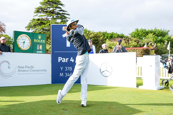 Saud Al Sharif from Saudi Arabia hitting off the 1st tee on Day 1 of competition in the Asia-Pacific Amateur Championship tournament 2017 held at Royal Wellington Golf Club, in Heretaunga, Upper Hutt, New Zealand from 26 - 29 October 2017. Copyright John Mathews 2017.   www.megasportmedia.co.nz