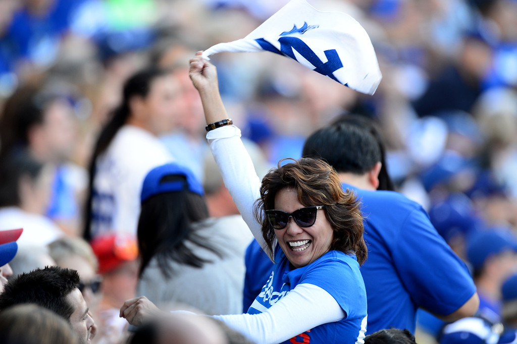 . Dodger fans during game 3 of the NLCS at Dodger Stadium Monday, October 14, 2013. The Dodgers beat the Cardinals 3-0. (Photo by Sarah Reingewirtz/Los Angeles Daily News)