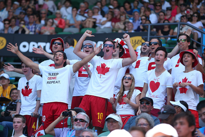 . Supporters of Eugenie Bouchard of Canada watch her in her semifinal match against Na Li of China during day 11 of the 2014 Australian Open at Melbourne Park on January 23, 2014 in Melbourne, Australia.  (Photo by Scott Barbour/Getty Images)