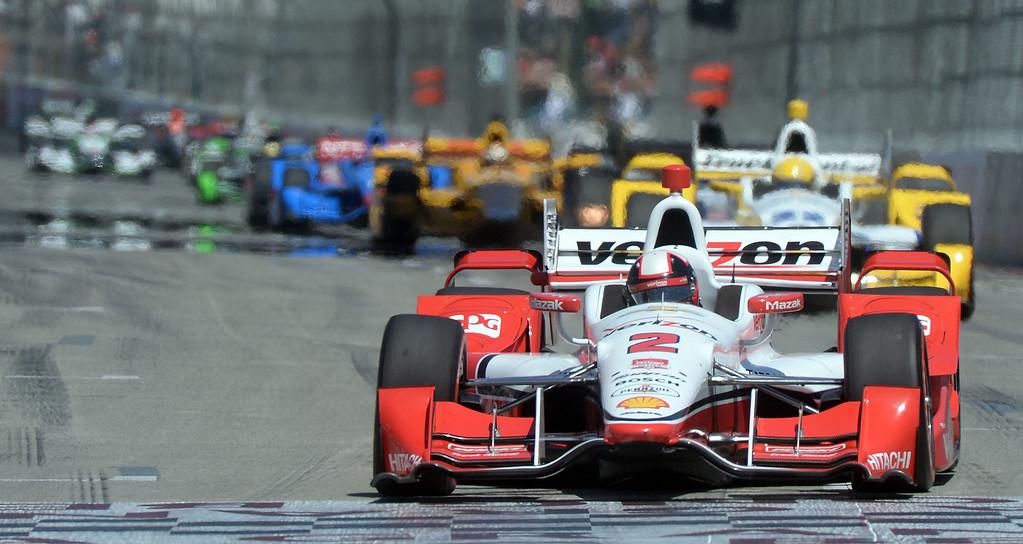 . Juan Pablo Montoya races down Shoreline Drive Sunday. Scott Dixon (9) wins the Toyota Grand Prix of Long Beach Sunday April 19, 2015.  (Will Lester/Staff Photographer)