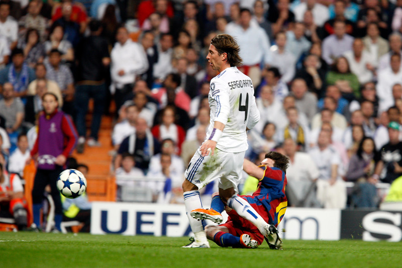 Messi scoring the second goal, UEFA Champions League Semifinals game between Real Madrid and FC Barcelona, Bernabeu Stadiumn, Madrid, Spain