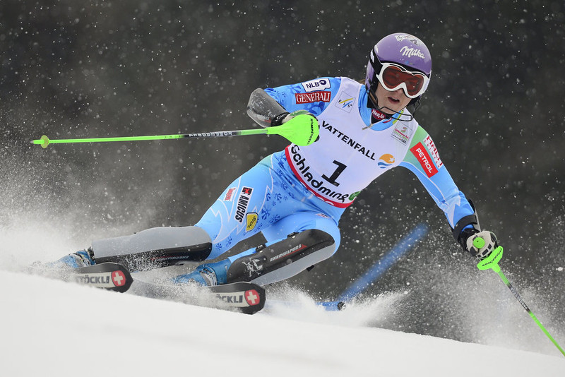 . Slovenia\'s Tina Maze skis during the first run of the women\'s slalom at the 2013 Ski World Championships in Schladming, Austria on February 16, 2013.  FABRICE COFFRINI/AFP/Getty Images