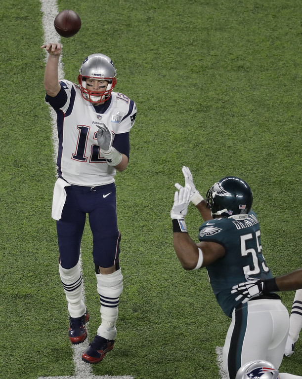 . New England Patriots quarterback Tom Brady passes against the Philadelphia Eagles during the first half of the NFL Super Bowl 52 football game Sunday, Feb. 4, 2018, in Minneapolis. (AP Photo/Eric Gay)