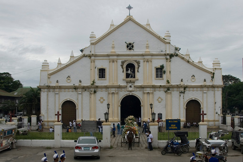 Funeral ceremony ongoing at the Vigan Cathedral - Vigan, Philippines