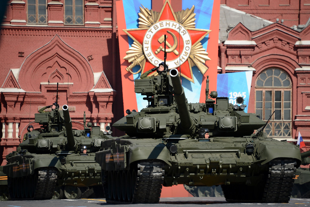 . Russian T-90 tanks roll at the Red Square in Moscow, on May  9, 2014, during a Victory Day parade.  AFP PHOTO / KIRILL KUDRYAVTSEV/AFP/Getty Images