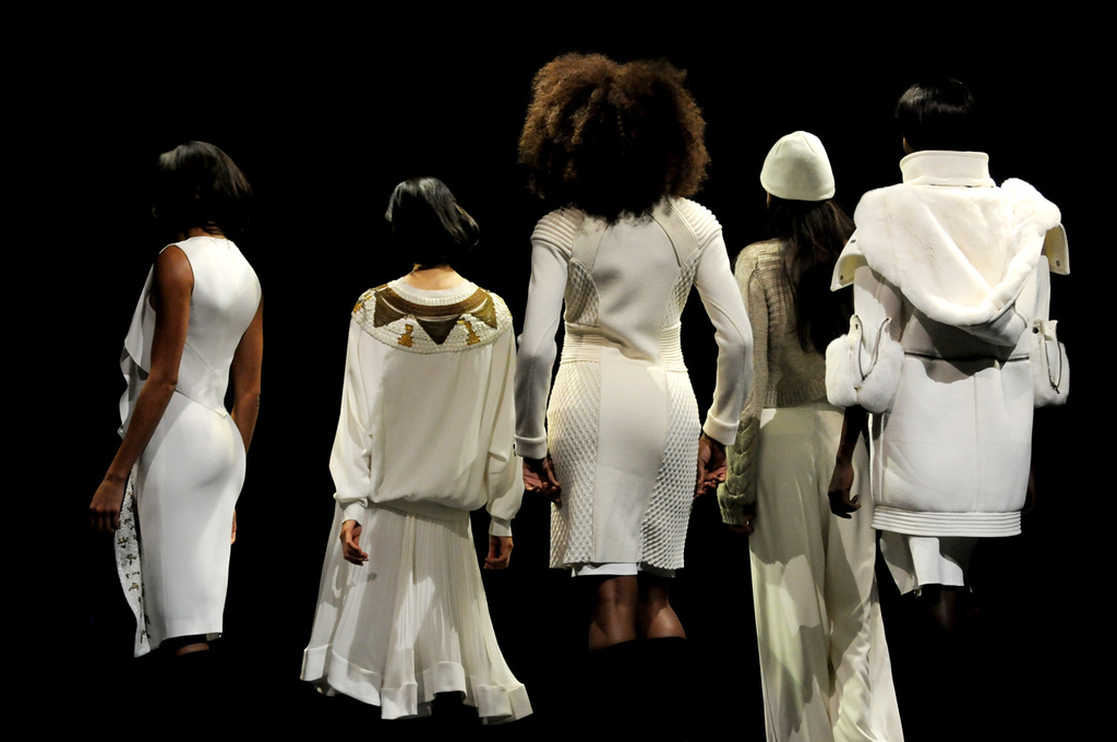 . Models retreat from the stage with outfits by Philosophy during the dress rehearsal for the annual Macy\'s Glamorama.  (Pioneer Press: Jean Pieri)