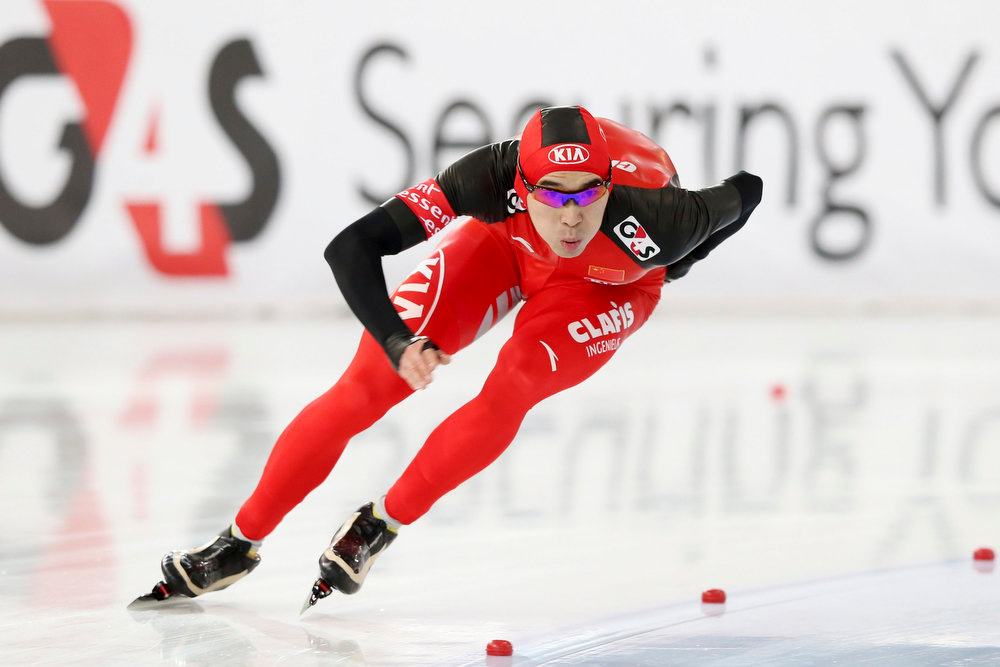 Description of . Sun Longjiang of China skates during the 500m event at the World Speedskating Championships in Hamar in this picture provided by NTB Scanpix February 16, 2013. REUTERS/Hakon Mosvold Larsen/NTB Scanpix