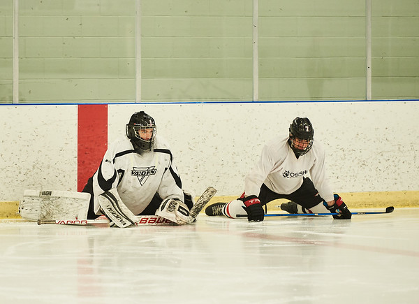 DAVID LIPNOWSKI / WINNIPEG FREE PRESS   Tyler Brennan (#1) (left) and Carson Lambos (#7) (right) will be drawn in the WHL bantam draft on Thursday, they are seen during hockey practice at Southdale Community Centre Tuesday May 1, 2018.
