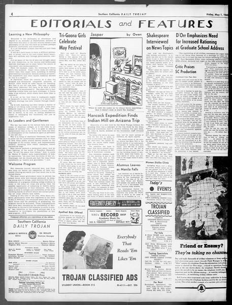 Daily Trojan, Vol. 33, No. 133, May 01, 1942