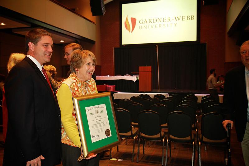 Senator Warren Daniel stands by Brownie after her receiving of the award.