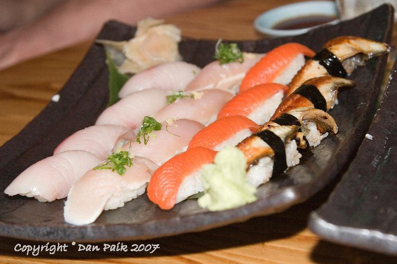 yellotail, albacore tuna, salmon, unagi sushi
