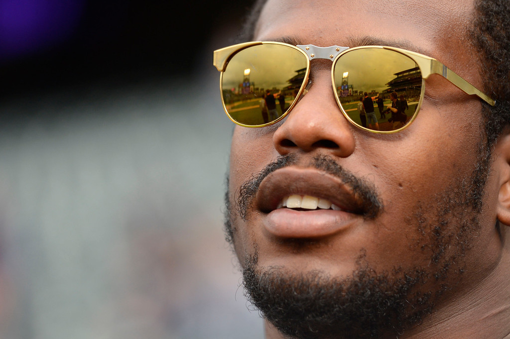 . DENVER, CO. - MAY 07: Denver Broncos Von Miller of the Denver Broncos watches batting practice at the Colorado Rockies New York Yankees game May 7, 2013 at Coors Field. (Photo By John Leyba/The Denver Post)