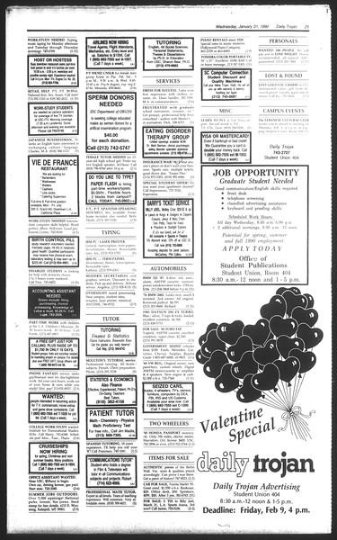 Daily Trojan, Vol. 111, No. 14, January 31, 1990