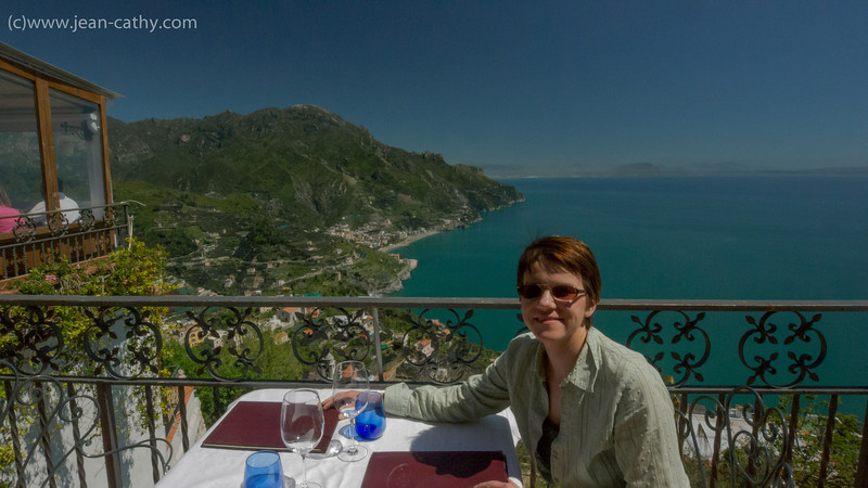 Restaurant in Ravello Italy, it is perched on top of cliffs (as is the entire Village) overlooking the Bay of Salerno along the Amalfi Coast.