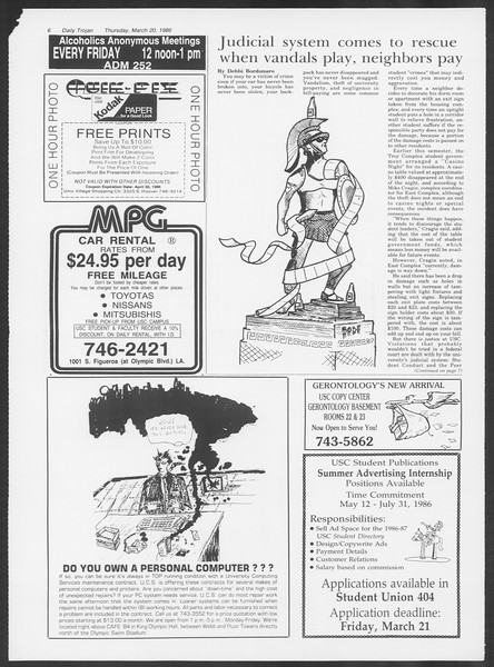 Daily Trojan, Vol. 100, No. 48, March 20, 1986