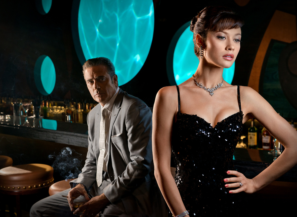 . Ike Evans (Jeffrey Dean Morgan), Vera Evans (Olga Kurylenko) - © 2013 Starz Entertainment, LLC. All rights reserved. Magic City (season 2)