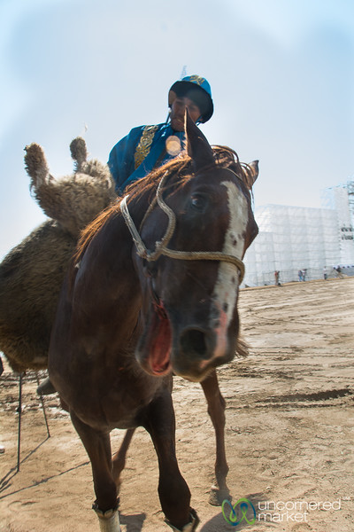Kazakh Kok-boru Team Member Grabs the Goat - World Nomad Games 2016