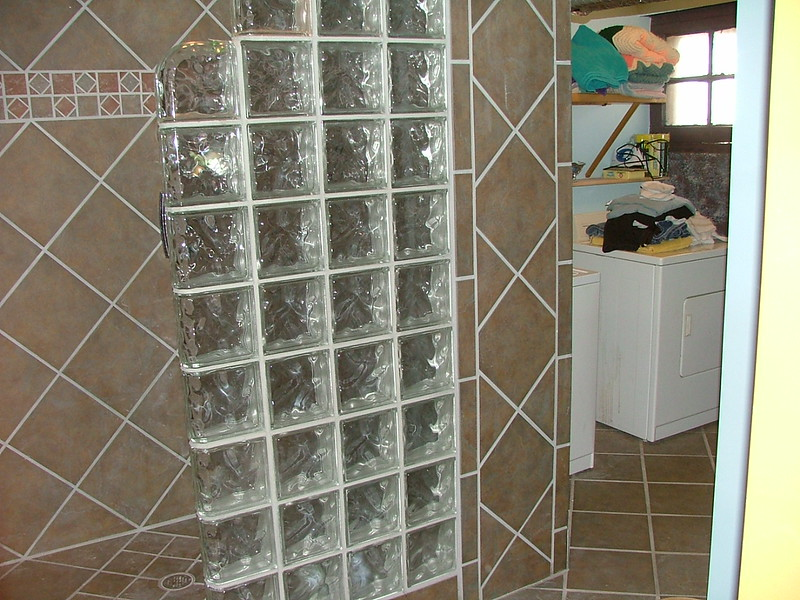 glass tile for basement bathroom