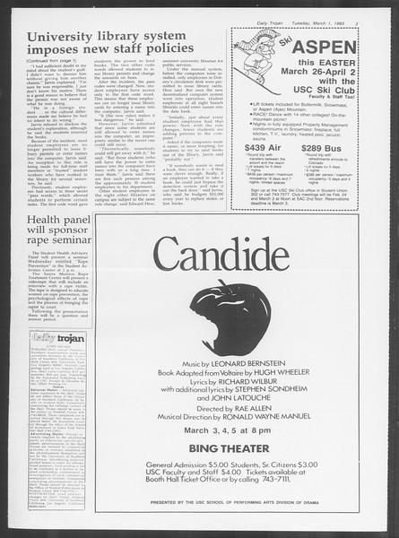 Daily Trojan, Vol. 93, No. 33, March 01, 1983