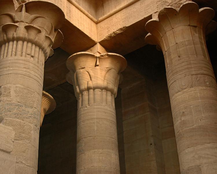 three columns of the hypostyle hall