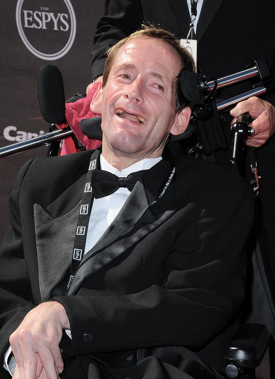 . Rick Hoyt arrives at the ESPY Awards on Wednesday, July 17, 2013, at Nokia Theater in Los Angeles. (Photo by Jordan Strauss/Invision/AP)