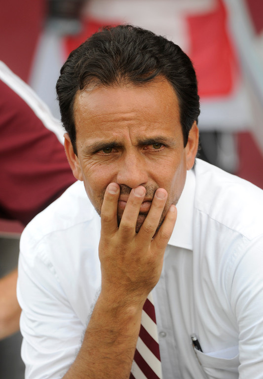 . COMMERCE CITY, CO. - JULY 27:  Rapids coach Oscar Pareja on the bench in the first half. The Colorado Rapids hosted the Los Angeles Galaxy Saturday, July 27, 2013.  Photo By Karl Gehring/The Denver Post