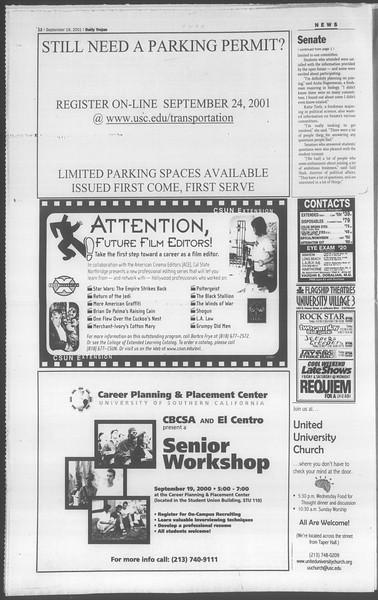 Daily Trojan, Vol. 144, No. 15, September 19, 2001