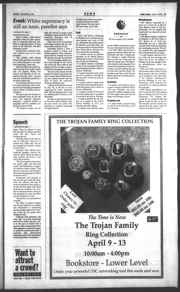 Daily Trojan, Vol. 142, No. 54, April 09, 2001