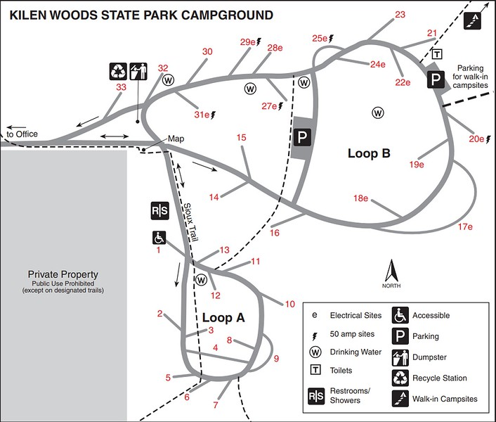 Kilen Woods State Park (Campground Map)