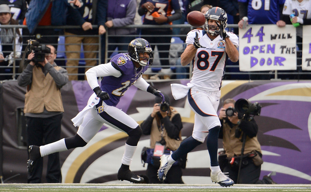 Description of . Denver Broncos wide receiver Eric Decker (87) catches a pass in front of Baltimore Ravens cornerback Jimmy Smith (22) during the second quarter Sunday, December 16, 2012 at M&T Bank Stadium.  Decker was out of bounds at the 2-yard line. John Leyba, The Denver Post