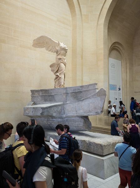 From yesterday's tour of the Louvre:  the Winged Victory of Samothrace, newly restored and very popular