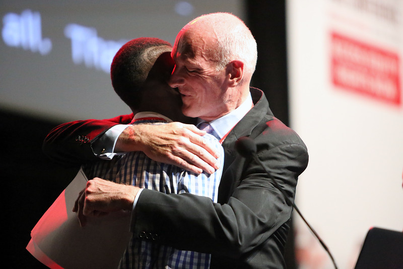 21st International AIDS Conference (AIDS 2016), Durban, South Africa. Tuesday 19th July 2016, VENUE : Durban ICC Session Hall 1 Tuesday Plenary Justice Edwin Cameron with his Godson Sello Andy Morobi Photo©International AIDS Society/Abhi Indrarajan