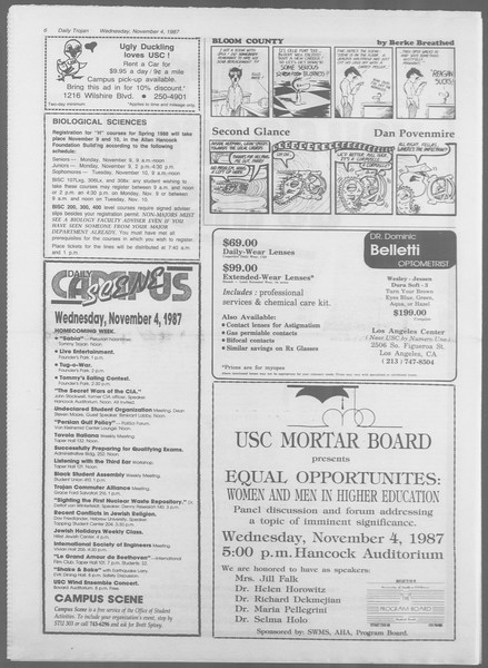 Daily Trojan, Vol. 105, No. 44, November 04, 1987
