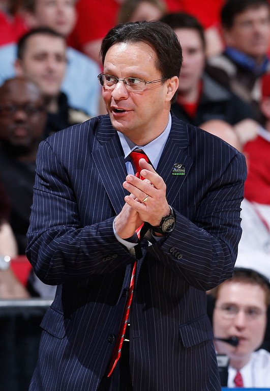 . DAYTON, OH - MARCH 22:  Head coach Tom Crean of the Indiana Hoosiers looks on from the sideline in the first half against the James Madison Dukes during the second round of the 2013 NCAA Men\'s Basketball Tournament at UD Arena on March 22, 2013 in Dayton, Ohio.  (Photo by Joe Robbins/Getty Images)