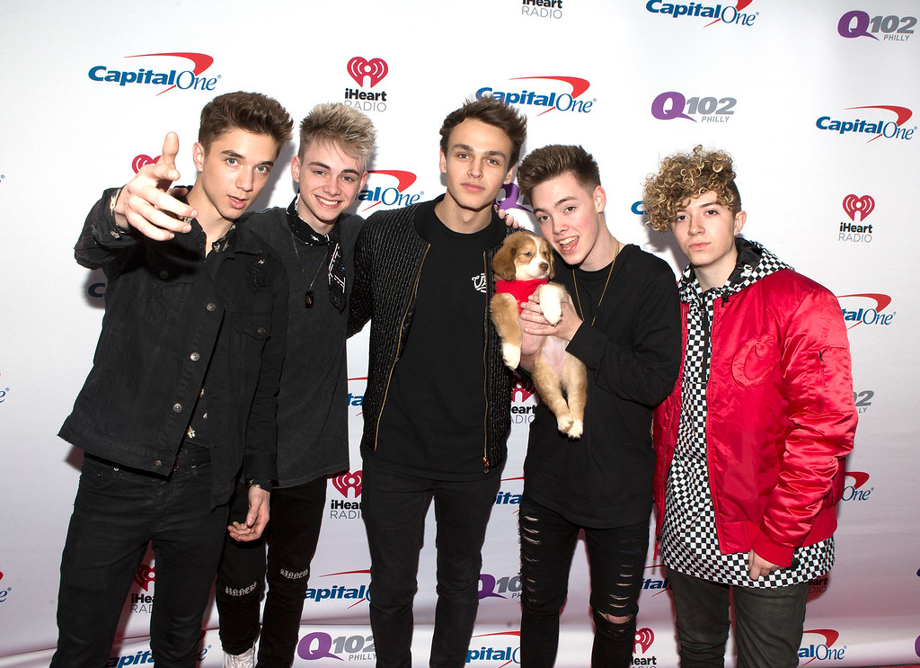. Daniel Seavey, from left, Corbyn Besson, Jonah Marais, Zach Herron and Jack Avery of the band Why Don\'t We pose for photographers backstage during Q102\'s iHeartRadio Jingle Ball 2017 at the Wells Fargo Center on Wednesday, Dec. 6, 2017, in Philadelphia. (Photo by Owen Sweeney/Invision/AP)