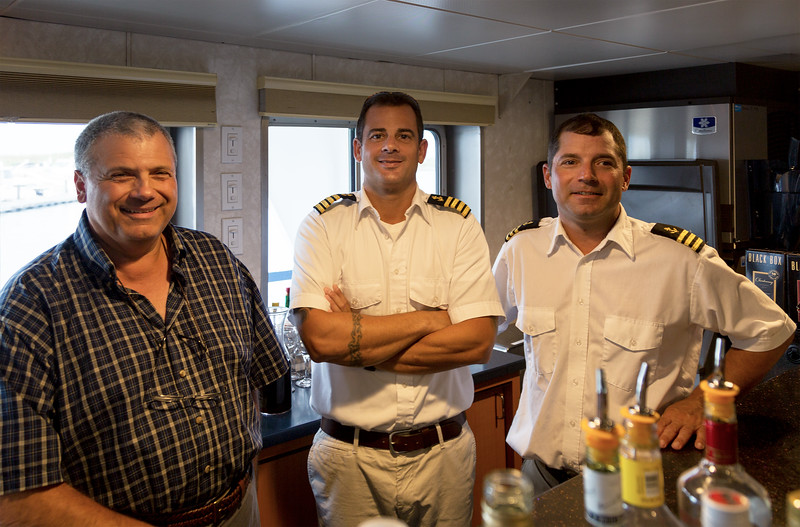 "Joe Ristuccia, Capt. David Sylvaria, and 2nd mate, Jason ""Woody"" Wood"