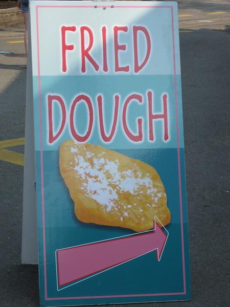 Fried Dough sandwich board sign.