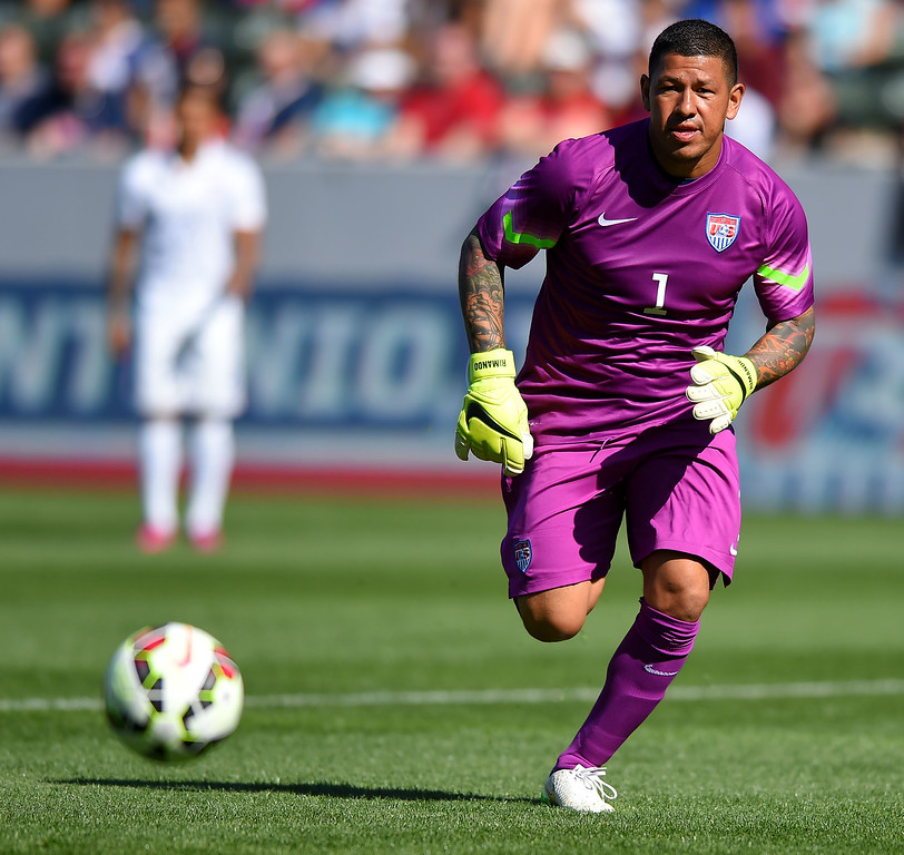 . USA goalie Nick Rimando chases down a ball at the StubHub Center in Carson, CA on Sunday, February 8, 2015. US men\'s national team vs Panama in an international friendly soccer match. 1st half. (Photo by Scott Varley, Daily Breeze)