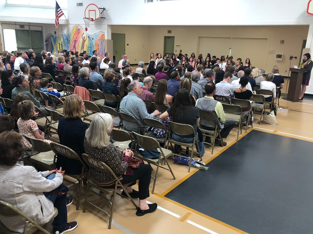 . Parents and well-wishers at Mendocino K-8 school commencement June 13.