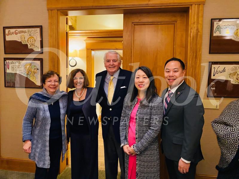 Leah Pastis, Sophia Angelos, outgoing club President Jim Angelos, Ann Wu and Stephen Choi